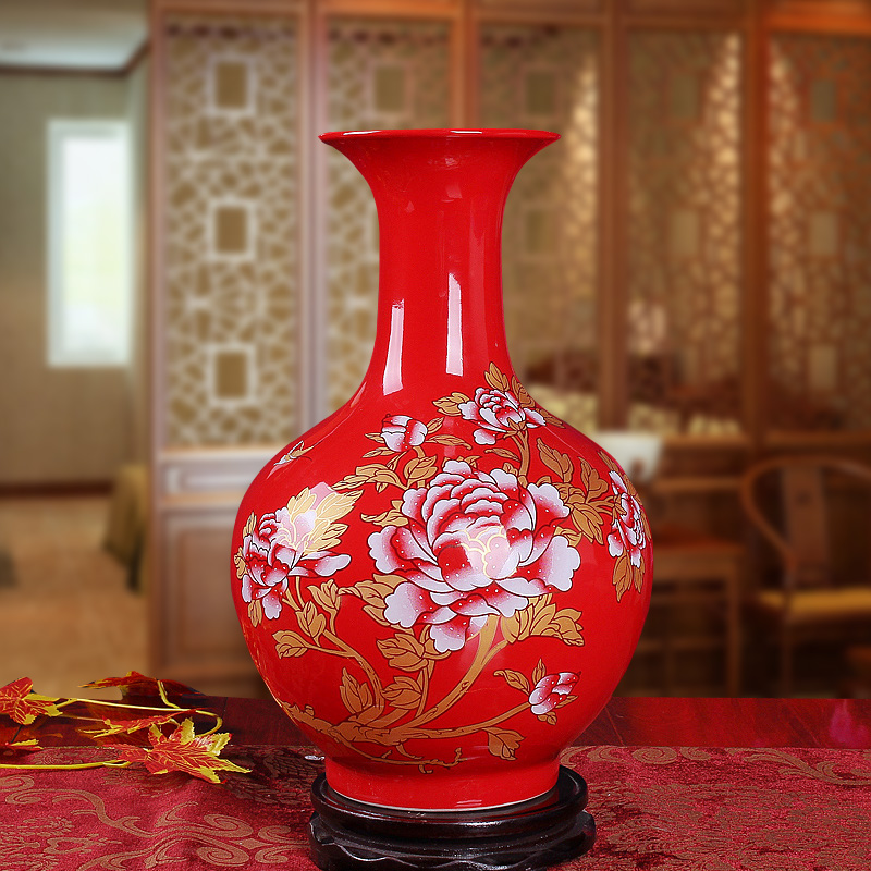 Jingdezhen Ceramics, Chinese Red Peony Flower Vase, Living Room, Home Decoration, Wedding Gift