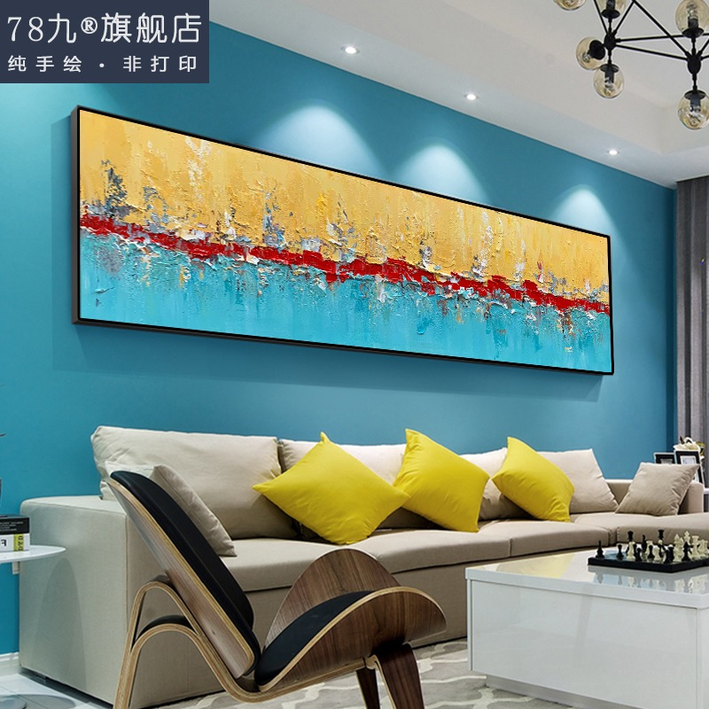 Modern living room hand-painted decorative painting bedside horizontal painting pure manual abstract oil painting Dafen village knife painting custom painting