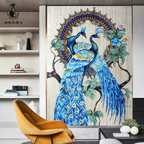 Cat-eye peacock mosaic background wall tile simple modern Xuanguan cut the living room puzzle mural decoration painting