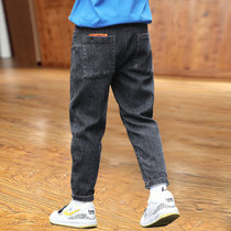 Boys jeans autumn winter 2020 new childrens pants in the big childrens trousers boys plus-down thick cotton pants autumn