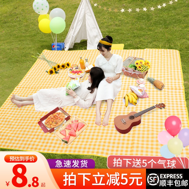 Spring tour outdoor picnic mat supplies beach tent mat ins wind net red moistureproof pad outing portable picnic cloth