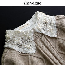 Shevogue heavy work hand-nailed beads fake collar childrens water-soluble collar embroidered lace decorative collar