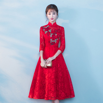 Winter Chinese style improved Red wedding dress