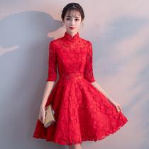 Chinese style summer fashion red mini-dress