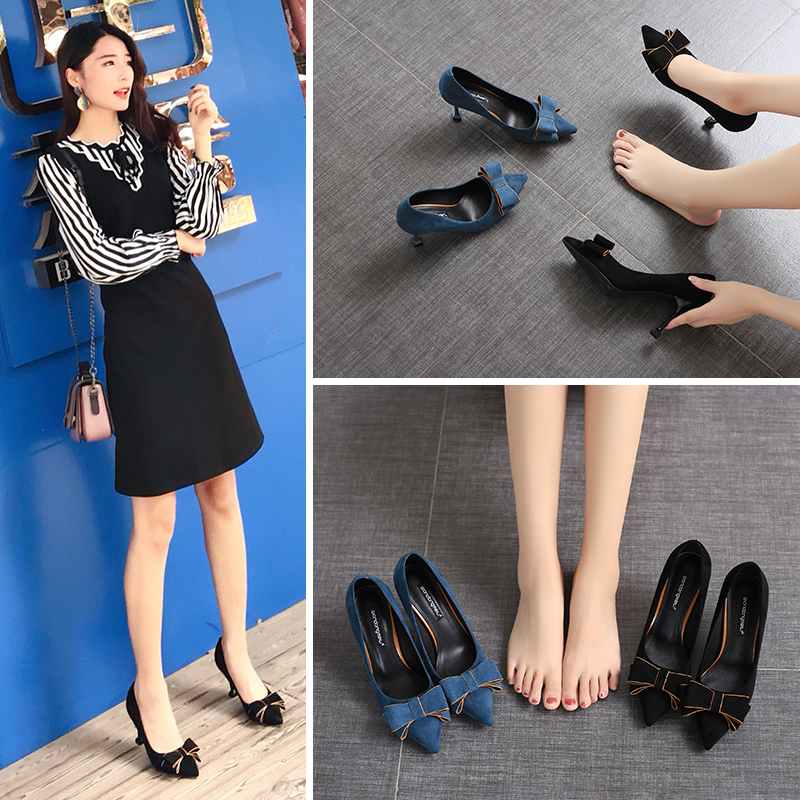 Autumn new style 2019 pointed cat heel high heel shoes