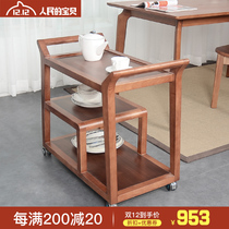 Theo Solid wood Dining car mobile stroller rack receiving dining car snack cart multifunctional kitchen storage cart