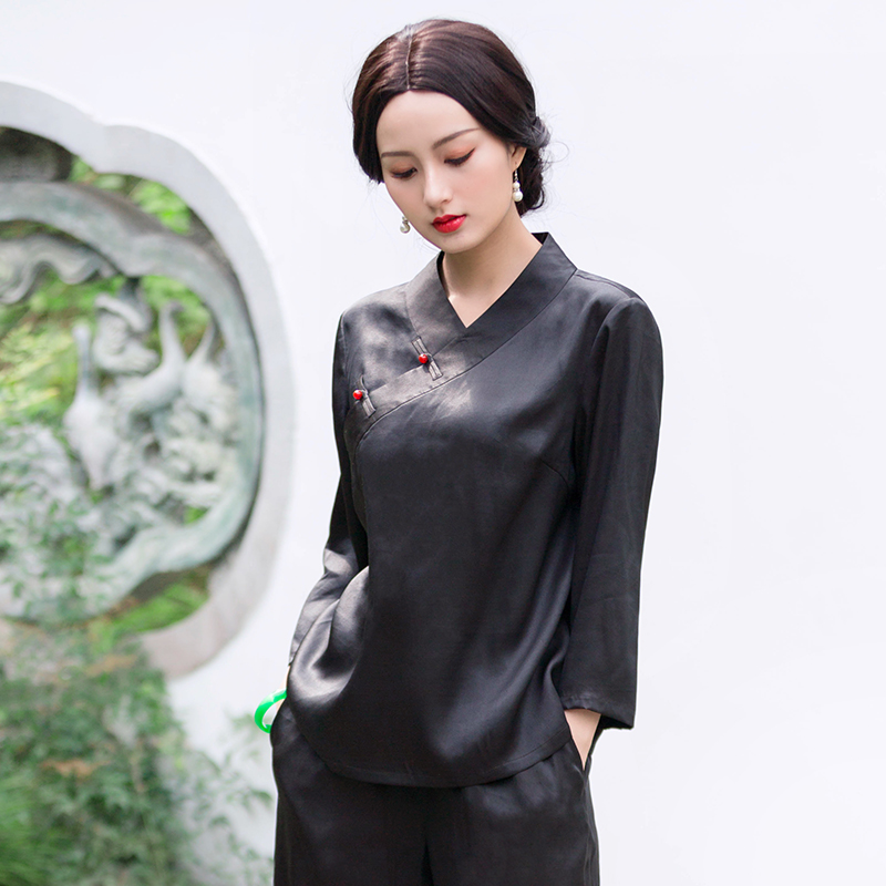 Chinese classic Chinese top loose modified fashion Chinese style high-end black silk fragrant cloud yarn Tang dress womens summer