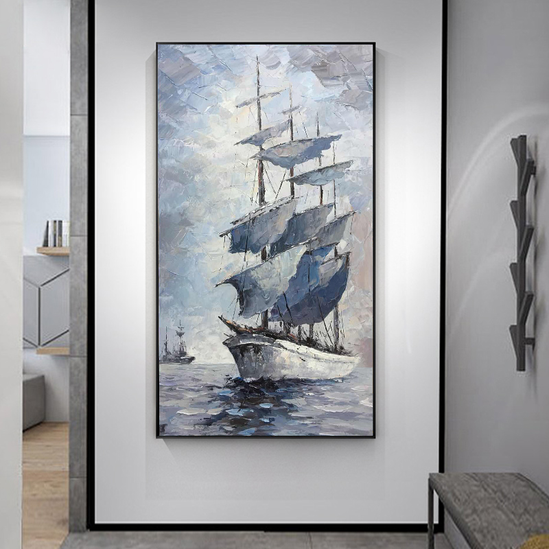 Family Beauty Oil Painting Pure Hand-painted Nordic Luxury Hanging Painting Sailing Boat Point Vertical Print Decorative Painting Large-scale Hand-made Murals