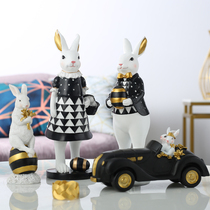 Nordic light luxury rabbit crafts black and white home living room wine cabinet decoration wedding gifts to the new people