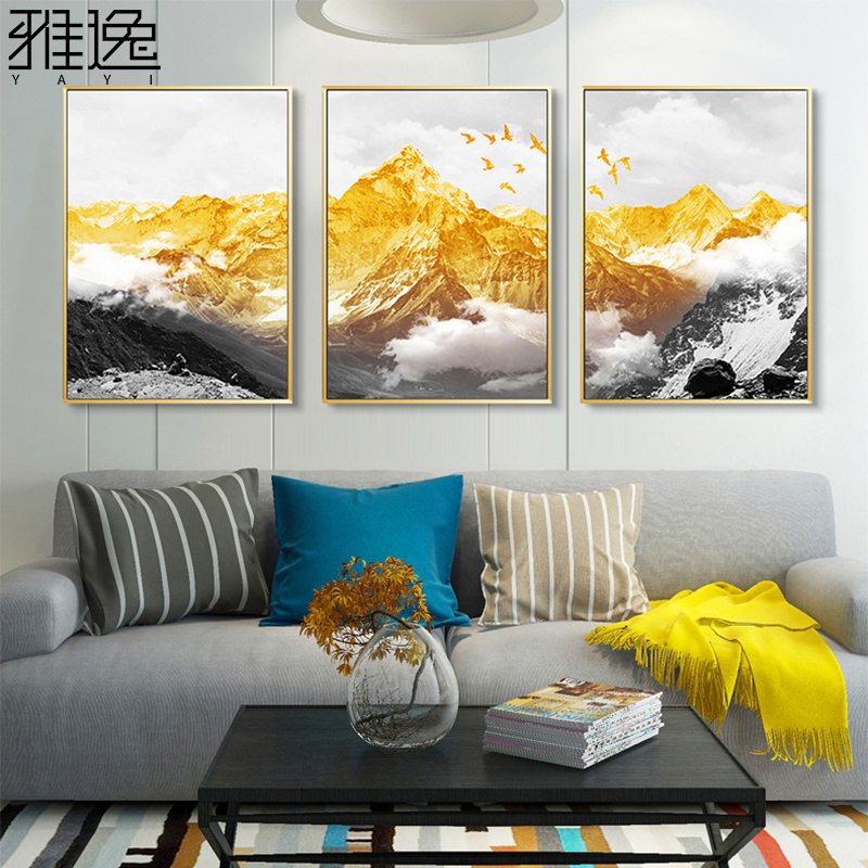 Atmospheric Living Room Decoration Paintings Modern Simple Sofa Background Hanging Paintings Jinshan Light Luxury Wall Paintings Backed by Mountainside Triple Paintings