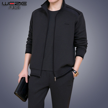 Middle-aged and Old-aged Sports Suit Men's Spring and Autumn Outerwear Leisure Dad's Suit Large Size Middle-aged Men's Sportswear Three-piece Suit 60