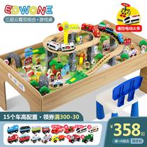 EDWONE piste en bois télécommande train piste voiture jouet multifonctionnel jeu table enfants jouet table garçon voiture