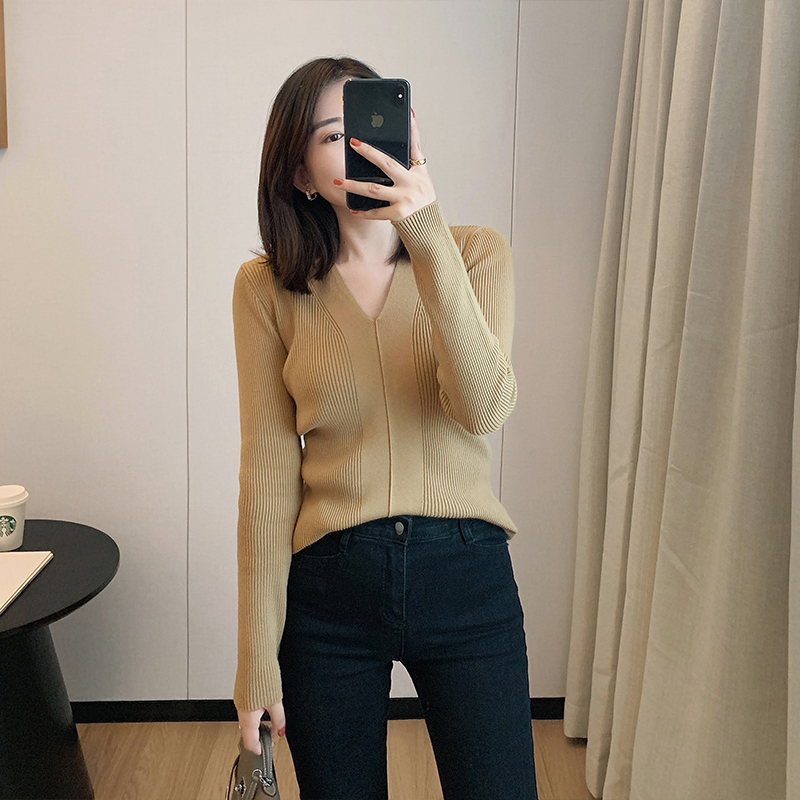 ZIYAN bottoms womens autumn winter temperament with low-necked knitwear tops with a 100-year-old slim V-neck sweater