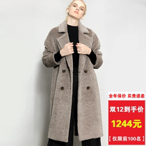 Sheep Camel coat Female 2018 new Albaka cashmere coat female long warm loose sully coat winter