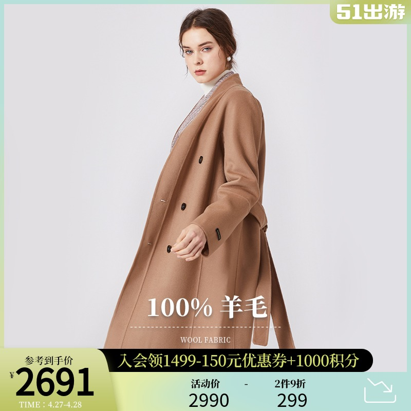 SCOFIELD womens 2020 winter new double-breasted medium-long wool coat SFJWA4V04Q