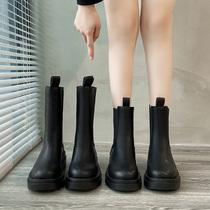 马丁靴女潮ins英伦风2020年新款秋冬季加绒中筒切尔西烟筒短靴子