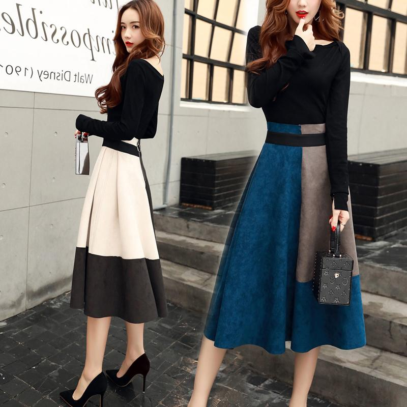 South Korean womens 2020 autumn winter new Korean version of foreign fashion suit womens two-piece dress wave