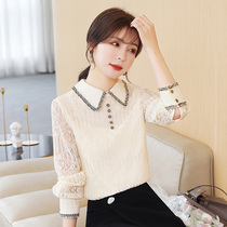 Doll collar long sleeve lace chiffon shirt womens autumn new slim body thin foreign style casual fashion small shirt top tide