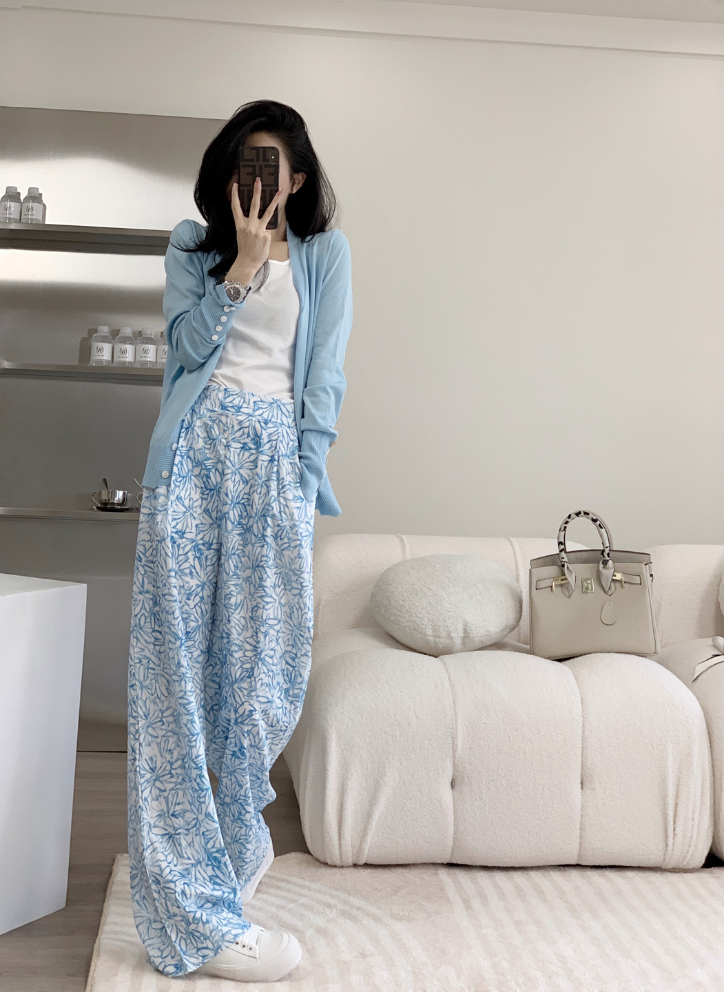 Summer thin wide-leg pants womens 2021 new high-waisted drooping mopping wild straight loose lanky pants