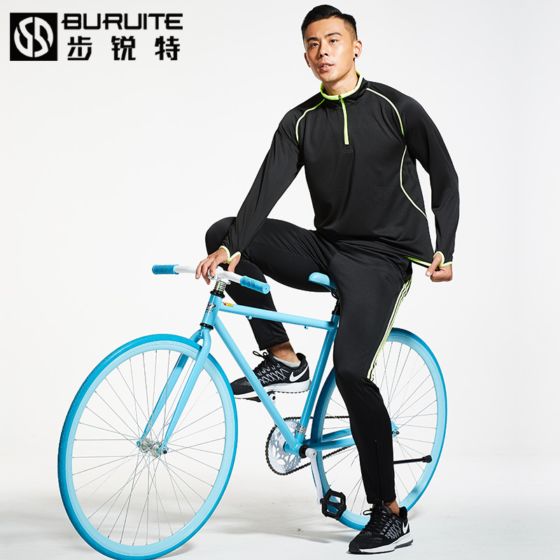 Long-sleeved Jersey clothing suits men's thick fleece autumn and winter cycling clothing female riding trousers mountain bike sportswear