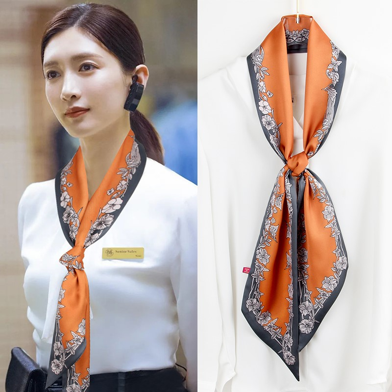 Long small silk scarf women autumn and winter style foreign fashion Korean version of a hundred decorative scarves tied around the scarf spring and autumn thin ribbon
