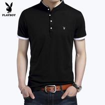 Playboy collier de stand-up de lété slim fit de couleur unie chemise polo