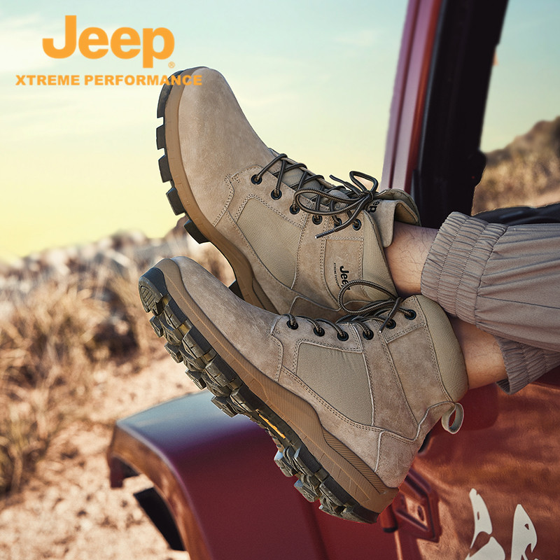 Jeep Jeeps new Martin Boots Mens Outdoor Warm and Breathable Anti-Slip Hiking Mens Shoes Casual Trend Sneakers