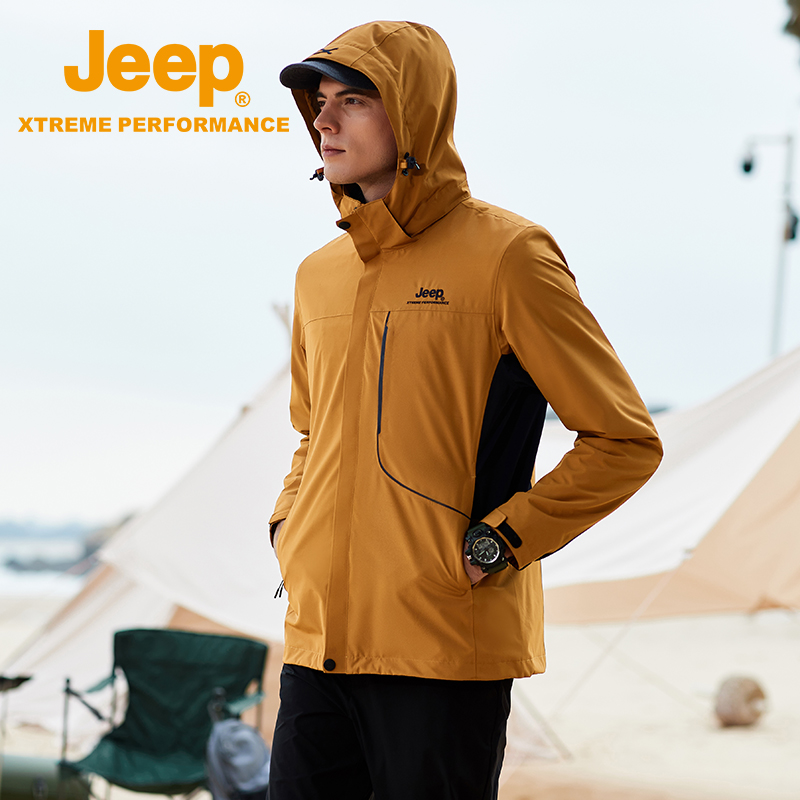 Jeep Jeep mens single-layer assault jacket 2021 spring autumn jacket sports outdoor climbing suit wind-proof waterproof clothing