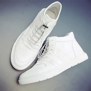 Summer high in all-match leisure shoes trend of Korean Metrosexual British white high shoes men shoes white shoes