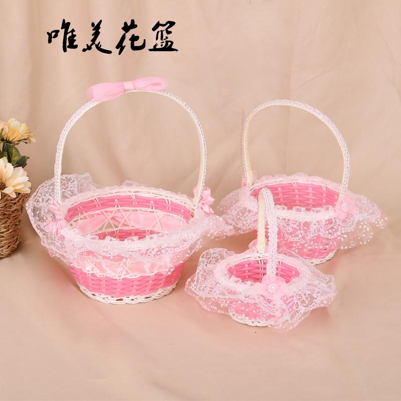 Hand-made rattan wedding flower children sprinkle flower basket live festival candy basket Christmas Eve jesus basket dancing petal small flower basket