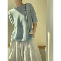 WANGER classic R0W wind soft waxy cloud touch cashmere fashionable hairy short sleeve knit top