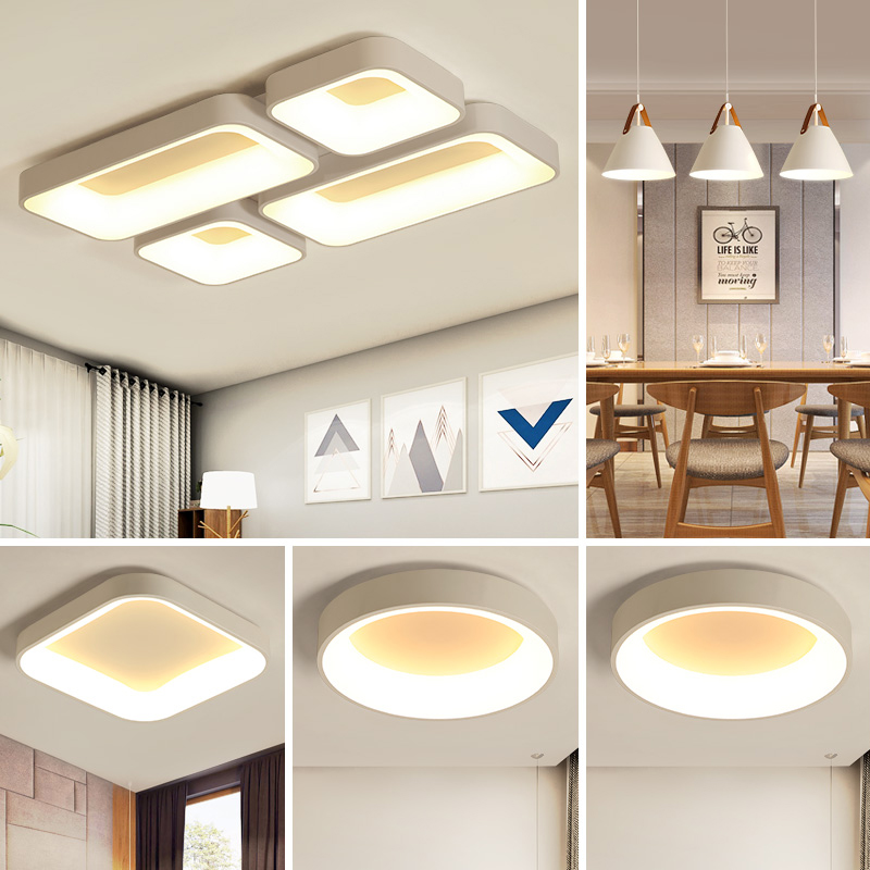 Simple modern ceiling lamp, three rooms, two rooms, household Nordic bedroom lamp set, living room lamp 2019 new style