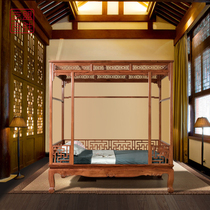 Art League Yum Myanmar acid branch redwood shelf bed double bed Chinese-style pull-out bed Ming and Qing classical million-word bed
