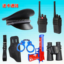 Childrens walkie-talkie A pair of parent-child intercom machine play house role-playing Black cat Sheriff police toy hat