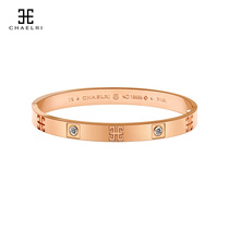 Lambie couple mens and womens bracelets womens titanium steel plated 18K rose gold color gold tide hand jewelry net red gift