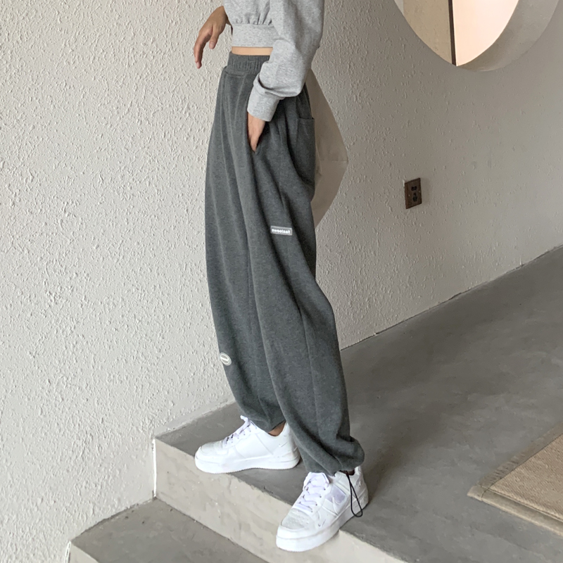 Grey sweatpants women loose-fitting autumn winter high waist drooping feeling small ins tide wide-legged straight barrel casual thick cotton pants