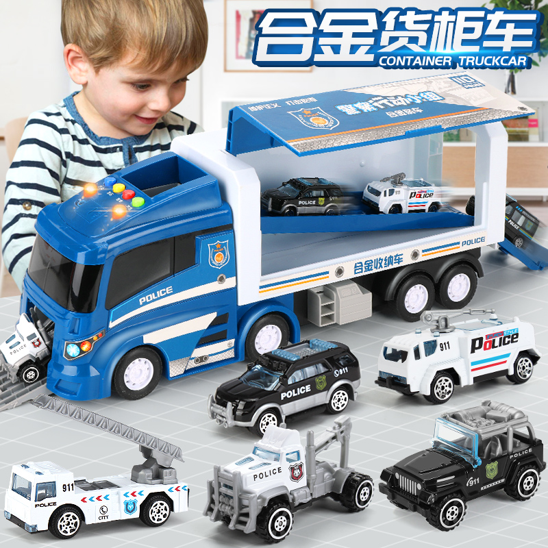 Children's Toy Car Boy Alloy Project Fire Police Card Container Truck Set Model Boy Car