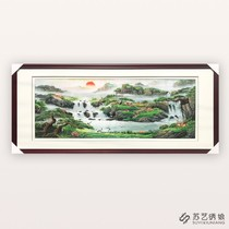 Su embroidery finished hanging paintings Jubao basin landscapes hand embroidery fine hanging paintings living room sofa wall decoration hanging paintings landscapes