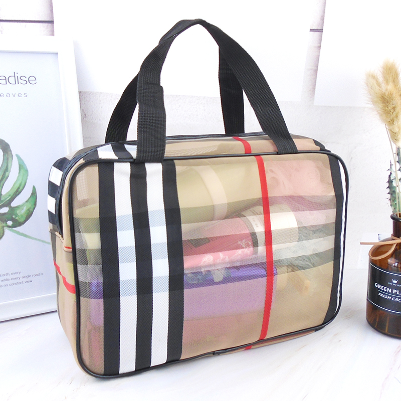 Make-up bag womens large capacity portable spinning water wash bag mens bath bag tote bath bag transparent mesh bath bag
