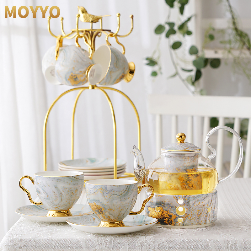 Moyyo English afternoon teacout ceramic glass flower tea set set fruit candle heated teapot belt filter