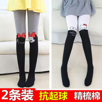 Combed cotton children tights girls leggings thick stitching in the spring and autumn and cotton Footless socks long tube