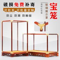 Крышка из красного дерева стеклянная Будда Гуаньинь украшения ручной работы Резьба по дереву пылезащитный чехол Клетка с сокровищами витрина прозрачная для настройки Будды