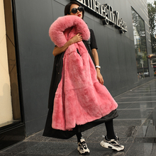 Piecon Female Winter 2019 New Medium-long Fox Hair Fur Coat Rex Rabbit Inner Gallbladder Removable Winter