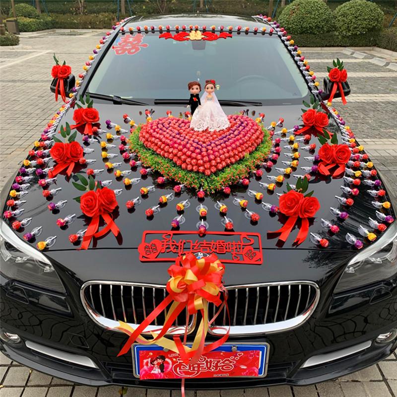 Lollipop main knot wedding car decorated head flower set suction cup-type creative flower fleet set wedding supplies full set