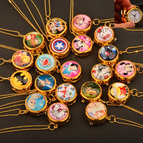 。 The new rotating watch cartoon fashion flip watch childrens gift watch necklace can be