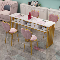 Special single double net red nail table Double simple modern nail table Economical nail table and chair set