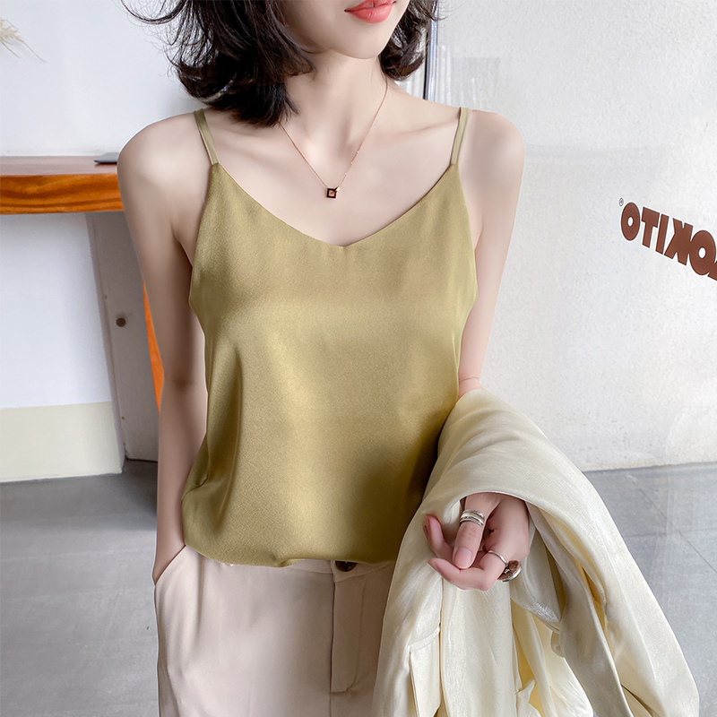 Camisole women wear summer sleeveless outside with a small suit bottom outside wear silk satin top ins tide