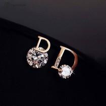 Korean letter stud earrings simple women small 925 sterling silver high-grade sense earrings 2021 new fashion quality net red