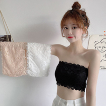 Lace bandeau women wear sexy inside black breast-wrapped anti-light summer thin section one-piece strapless underwear