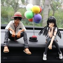 Voiture ornements voiture ornements Luffy handwear nouvelle poupée mignonne voiture centre console décoration voiture anime hommes